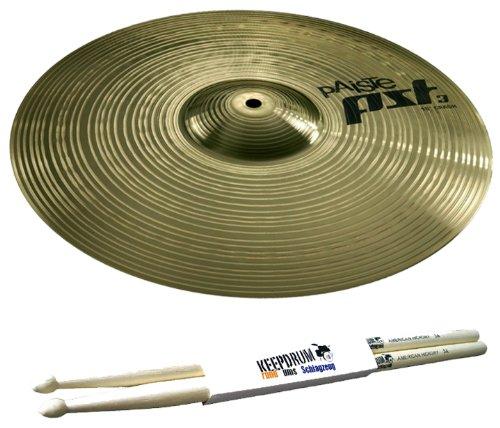 """PAISTE PST 3 16"""" Crash Becken + 5A Keepdrum Drumsticks GRATIS!"""