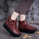 BeatinToes Boots Mode Retro Frauen Schuhe Leder Short Martin Stiefel Winter Warm Anti Slip Wasserdicht Handarbeit Dicke Ferse Schuhe, Wein Rot, 37