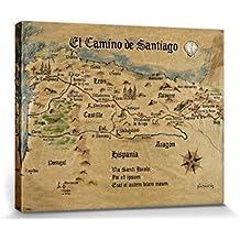 Camino De Santiago De Compostela - El Camino De Santiago Anno 1445, Jon Mellenthin Cuadro, Lienzo Montado Sobre Bastidor (50 x 40cm)
