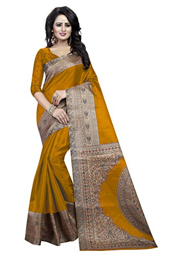 J B Fashion Women's with Blouse Piece Saree (H-saree for women-kalamkari_Musterd_Free Size)