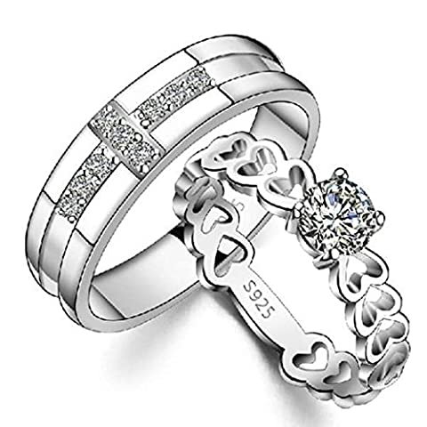 Gnzoe Women Wedding Ring Band CZ Hollow Heart Cross Rings Wedding 4mm/3.5mm, Silver (Price One Pc)