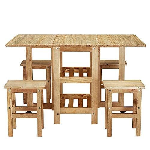 Holz Esszimmer Tisch Stühle (shougui trade Küchen-Esstischstühle, ausziehbarer Tisch und 4 Stühle, klein, platzsparend, Holz, Küchenmöbel, Tischstühle für Esszimmer, Küche, Büro, Lounge, Tisch und 4 Stühle)
