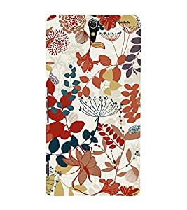 Flowers Leaves Pattern 3D Hard Polycarbonate Designer Back Case Cover for Sony Xperia C5 Ultra Dual :: Sony Xperia C5 E5533 E5563