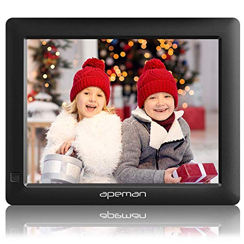 APEMAN Digitaler Bilderrahmen, 8 Zoll 1280x800 HD 4:3 LCD Display Foto, Musik, MP4 Videoplayer, Kalender, Wecker Automatischer EIN/AUS Timer, Unterstützung USB/SD, Mit Fernbedienung