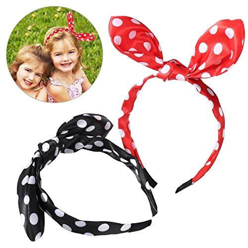frcolor 2Teile-Band-Haar-Hase Ohr, Knoten Schmetterling-Punkte-Stil Creolen, Frauen berührte -