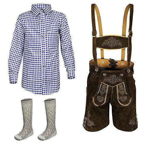 Kinder Lederhose 3erSET Kurze Trachtenlederhose Trachten Hemd Jungen Mädchen Gr.104,116,128,140,146,152,164, Braun, 128