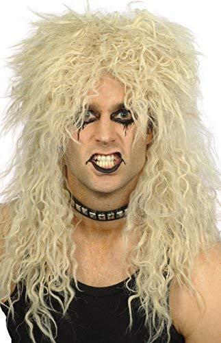 Damen Herren 80s Jahre Blond Mullet Rock And Roll Star Kostüm Kleid Kostüm Outfit Accessoire Perücke