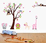 UberLyfe Tree and Wild Animals Nursery Wall Sticker Size 5 (Wall Covering Area: 140cm x 220cm) - WS-000201