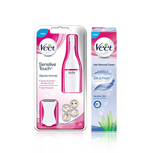 Veet Sensitive Touch Electric Trimmer, and Veet Hair Removal Cream Sensitive Skin 100g