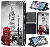 CoverHeld Hülle für Sony Xperia XA Premium Flipcover Schutzhülle aus Kunstleder Flip Case Motiv (1103 London Big Ben England Rot Grau)