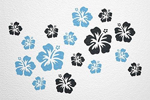 WANDfee® Wandtattoo 16 Hibiskus Blüten AC0611501 Größe Ø 7 - 15 cm, 2 x Ø 15 cm, 4 x Ø 11 cm, 10 x Ø 7 cm Farbe hellblau schwarz
