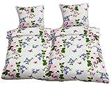 Leonado Vicenti - Bettwäsche 135x200 4teilig weiß rosa Schmetterlinge Blumen mit Reißverschluss