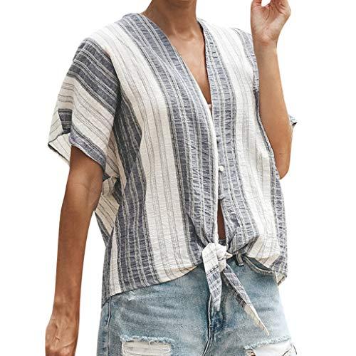 TOPSELD T Shirt Damen, Frauen V-Ansatz BeiläUfiges KurzäRmlig Patchwork Striped Top ()