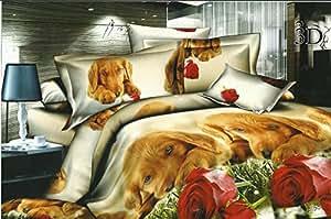 200x220 3D Bettwäsche Bettbezüge Bettwäschegarnituren mit Bettlaken 200x225 Microfaser 4tlg schöne Farben und Muster Hund Hündchen Welpe FSH338