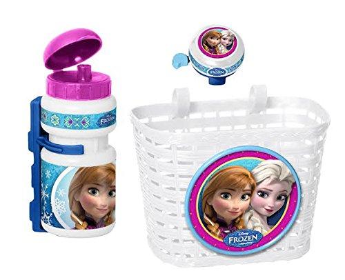 3tlg Disney Frozen die Eiskönigin Kinder Fahrrad Lenker Korb + Sport Trinkflasche + Klingel Glocke SET