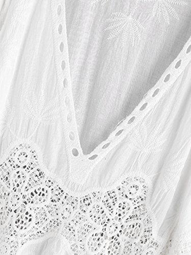 ROMWE Damen Sommer Top Häkel V-Ausschnitt Leicht Luftig Strand Bikini Cover Up Weiß