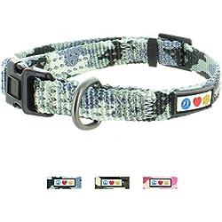 Pawtitas Collar ajustable para Cachorros y Perro Reflectante Pequeño Camouflaje Gris