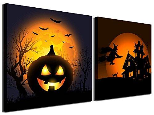 Gardenie Kunst-Happy Halloween Wall Art Prints auf Leinwand Gemälde Abstrakt Wand Kunstwerke Bilder ¡ 12 x 12 inch Halloween 2