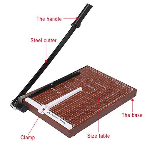 Coocheer B4 Papierschneider Papierschneidemaschine Fotoschneider Hebelschneider Schneidegerät Schrottmaschine mit Skala Holz (B4)