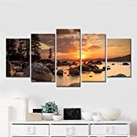 KQURNXSL Modular Wall Art Pictures 5 Pieces Sea Sunset Rocks Painting Canvas Prints Poster Home Decor For Living Room Framed