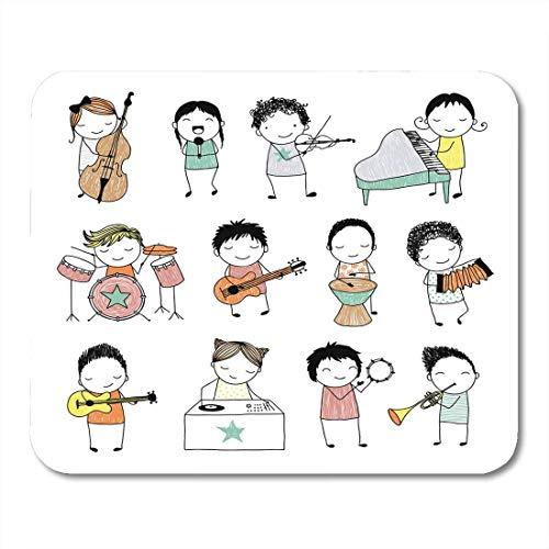 Mauspads Gitarre Musik Sammlung von süßen Doodle Kinder spielen verschiedene Musikinstrumente Klavierband Mauspad für Notebooks, Desktop Computer Mauspad 25 x 30 cm