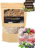 PROTEIN-MÜSLI VEGAN Natur 500g 34,7% Eiweiß  Glutenfrei SOJAfrei WEIZENFREI laktosefrei  BESTE Superfood Zutaten wie AMARANTH QUINOA PROTEIN-Crispies & Flakes ideal als Topping POTRRIDGE Cerealien