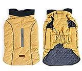 Tineer Haustier Jacke Hundebekleidung Winterwärmer Gesteppte Hundemantel Winter Haustier Jacke Weste Retro gemütliche warme Haustier Outfit Kleidung (L, Yellow)