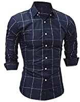 Tootlessly Men's Plaid Fashion Slim Fit Long-Sleeve Western Shirt M Navy Blue