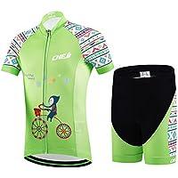 YFCH Kinder Radtrikot Set Jungen Mädchen Fahrrad Trikot Kurzarm + Radhose mit Sitzpolster