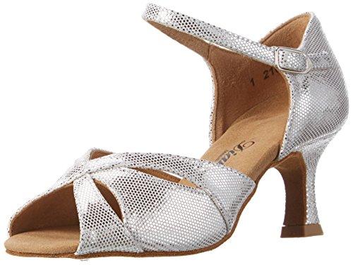 Diamant Damen Tanzschuhe 144-077-246 Standard & Latein, Silber (Weiß-Silber), 42 EU