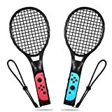 Tennisschläger für Nintendo Switch, Yocktec Tennisschläger Joy-Con Zubehör Set für Nintendo Switch Spiele Mario Tennis Aces-Schwarz(2 Stück)