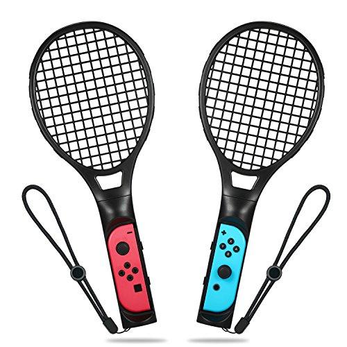 Tennisschläger für Nintendo Switch, Yocktec Tennisschläger Joy-Con Zubehör Set für Nintendo Switch Spiele Mario Tennis Aces-Schwarz(2 Stück) - Mario Nes 2 1 3 Super
