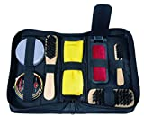 notrash2003 - Estuche de utensilios para el cuidado de los zapatos (7 accesorios, incluye betún y 3 cepillos)
