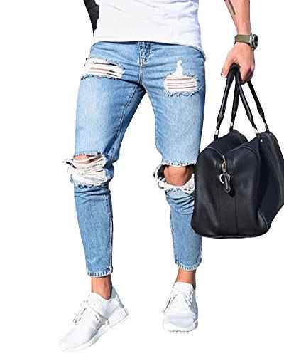 Strappati skinny jeans a vita bassa da uomo comfort stretti pantalone da denim slim stretch azzurro chiaro 2xl
