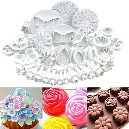 GS 33pcs Küche DIY Tools Fondant Plunger Cutter Set Blume Flower Leaf Blatt Schmetterling Herz Form Cookie Schokolade Sugarcraft Backen Prägung Formen Kuchen Dekoration Werkzeug