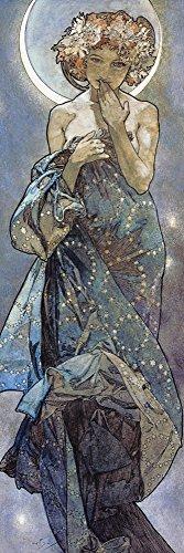 Artland Alte Meister Kunst Wandtattoo Alfons Mucha Bilder Jugendstil 150 x 50 cm Sterne Der Mond Kunstdruck Klebefolie Gemälde R0ET