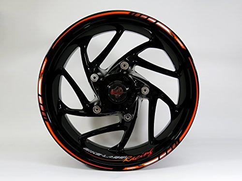 710026-VA Felgenrandaufkleber Set Orange-Black für unterschiedlich große Räder