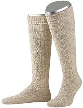 Lusana Herren Trachtenstrümpfe Kniebundstrumpf mit Zopf aus Gekämmter Baumwolle mit Leinen