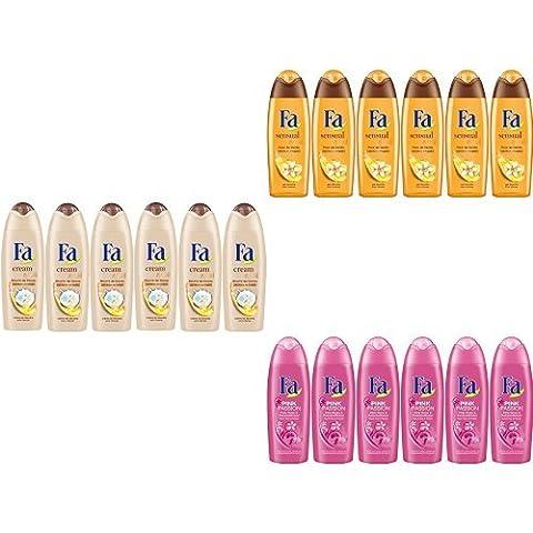 Fa Douche - Lot de 18 flacons 250 ml pour Femme - Beurre de Cacao & Huile de Coco |Fleur de Vanille|Pink Flacon