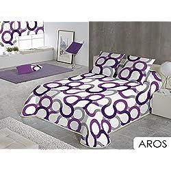Sabanalia - Colcha Aros (disponible en varios tamaños y colores), Cama 150 - 250 x 280, lila