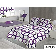Sabanalia #90AR-180 - Colcha Aros (disponible en varios tamaños y colores), para cama 180 - 280 x 280 cm, lila
