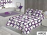 Sabanalia - Colcha Aros (disponible en varios tamaños y colores), Cama 135 - 230 x 280, lila