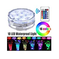Submersible Pool Led Lights Remote Controlled 10-LED RGB Waterproof Lights