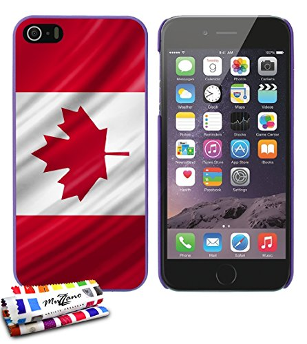 Ultraflache weiche Schutzhülle APPLE IPHONE 5 [Kanada Flagge] [Rot] von MUZZANO + STIFT und MICROFASERTUCH MUZZANO® GRATIS - Das ULTIMATIVE, ELEGANTE UND LANGLEBIGE Schutz-Case für Ihr APPLE IPHONE 5 Lila