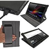 igadgitz Negro Funda Eco-Piel para Sony Xperia Z LTE Tablet Android Tablet. Con función Reposo /Activación y correa elástica integrada