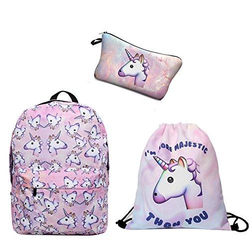 Rucksack Damen Einhörner Pink gedruckt Reisen Sie Freizeit Rucksack mit Turnbeutel&Mäppchen für Kinder 3er/pack