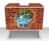 Badunterschrank Wasserfall im Wald - Roter Backstein Designschrank Bad M0618 Waschbeckenunterschrank | Komplettbeklebung