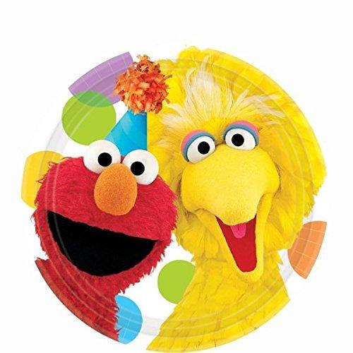 Sesam Kostüm - amscan 17,8cm Sesam Street (Elmo und Big Bird) Party Dessertteller-8Zählen
