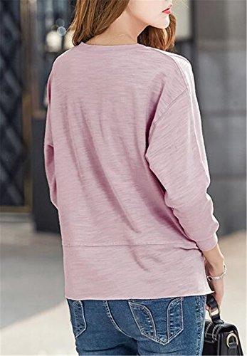 AILIENT Maglie Donna Maglietta Manica Lunga Girocollo Allentato Top Casuale Puro Colore Camicetta Sciolto T-Shirt Comode Tops Lungo Lavender