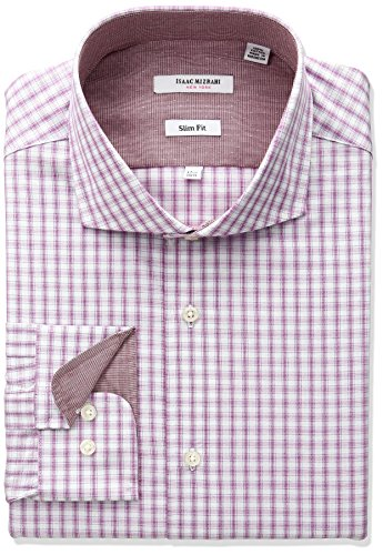 isaac-mizrahi-mens-slim-fit-multi-check-cut-away-collar-dress-shirt-fuchsia-165-neck-32-33-sleeve